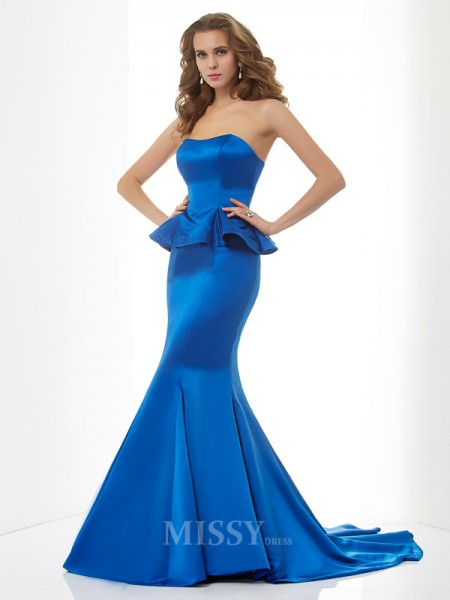 Mermaid Sweetheart Sweep Train Satin Evening Dress With Applique