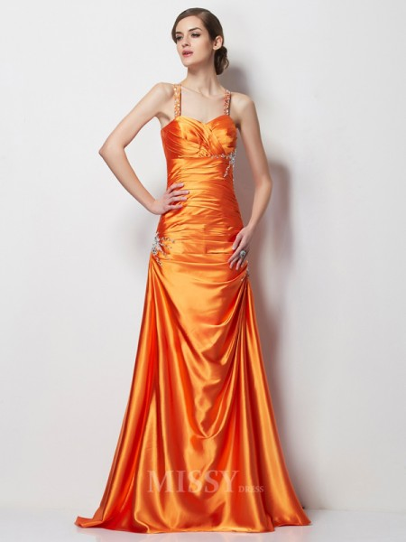 A-Line Spaghetti Straps Satin Sweep Train Elastic Woven Evening Dress With Embroidery