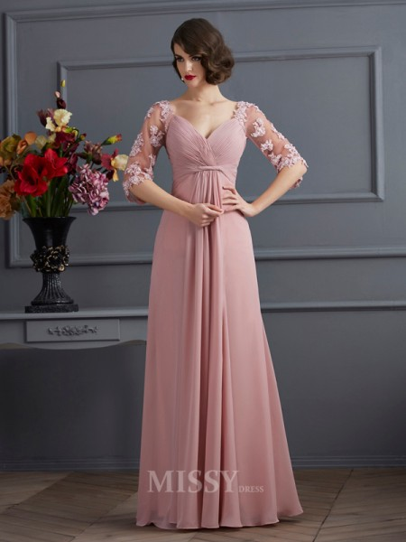 A-Line Sweetheart 1/2 Sleeves Floor-Length Chiffon Evening Dress With Embroidery