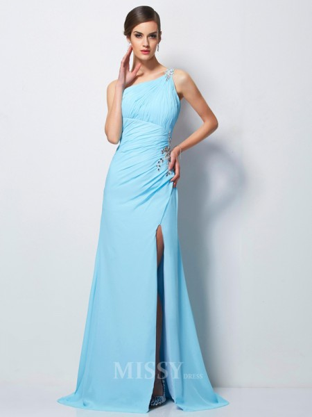 Sheath One-Shoulder Sweep Train Chiffon Evening Dress With Sequin