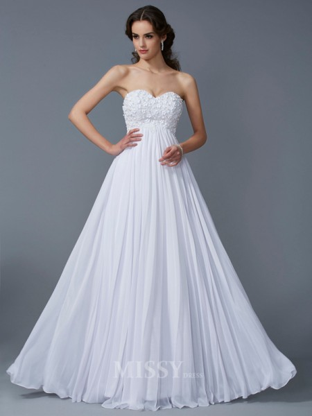 A-Line Sweetheart Ruffles Chiffon Floor-Length Evening Dress With Pleats