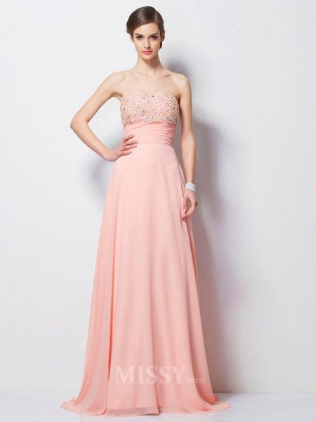 A-Line Sweetheart Sweep Train Chiffon Evening Dress With Rhinestone