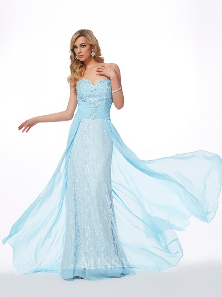 A-Line Sweetheart Chiffon Sweep Train Evening Dress With Ruched