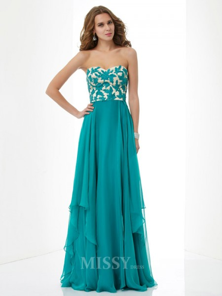 A-Line Sweetheart Applique Floor-length Chiffon Evening Dress With Sequin