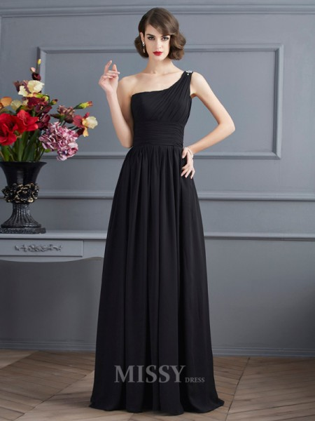 A-Line One-Shoulder Floor-Length Chiffon Evening Dress With Embroidery