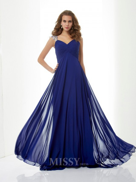 A-Line Straps Chiffon Sweep Train Evening Dress With Beading