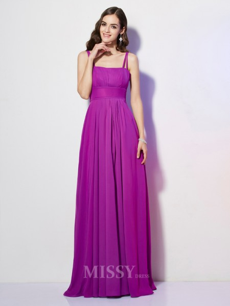 Sheath Spaghetti Straps Chiffon Floor-Length Evening Dress With Beading Pleats