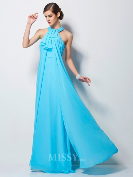 Sheath Floor-Length Chiffon Evening Dress With Ruched