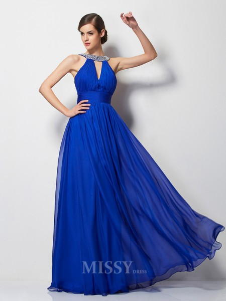A-Line V-neck Chiffon Floor-Length Evening Dress With Lace