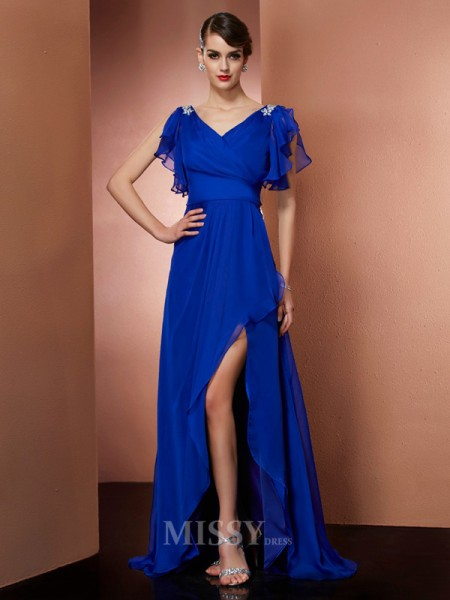 Sheath V-neck Asymmetrical Chiffon Evening Dress With Sequin