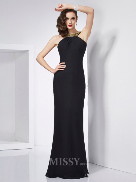 Mermaid Jewel Floor-Length Chiffon Evening Dress With Pleats