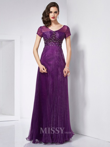 A-Line V-neck Short Sleeves Organza Floor-Length Evening Dress With Applique