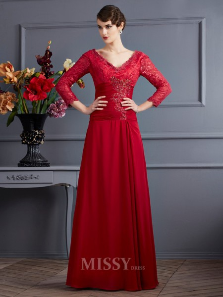 A-Line Chiffon 3/4 Sleeves Floor-Length V-neck Evening Dress With Beading