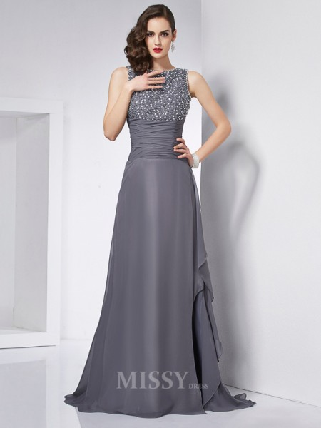 A-Line Jewel Chiffon Sweep Train Evening Dress With Beading