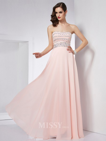 A-Line Strapless Floor-Length Chiffon Evening Dress With Lace