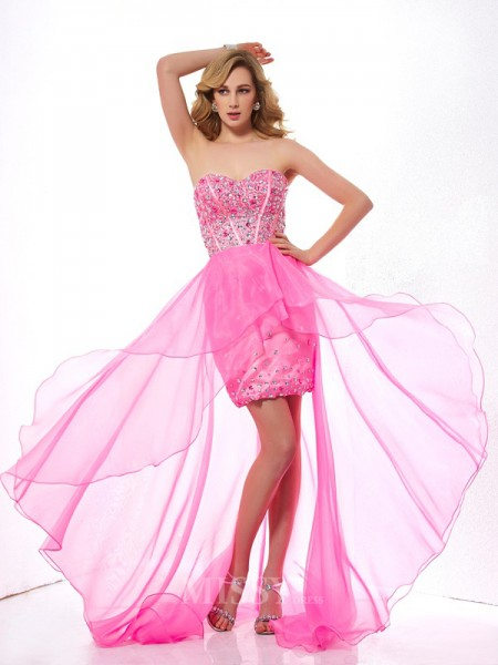 A-Line Sweetheart Asymmetrical Organza Evening Dress With Embroidery