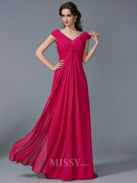 A-Line V-neck Short Sleeves Floor-Length Chiffon Evening Dress With Rhinestone