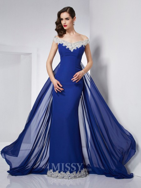 Mermaid Off-the-Shoulder Applique Chiffon Floor-Length Evening Dress With Ruched