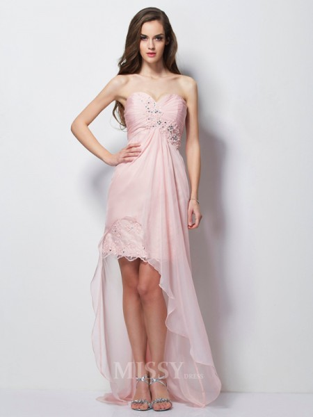 A-Line Sweetheart Chiffon Asymmetrical Evening Dress With Lace
