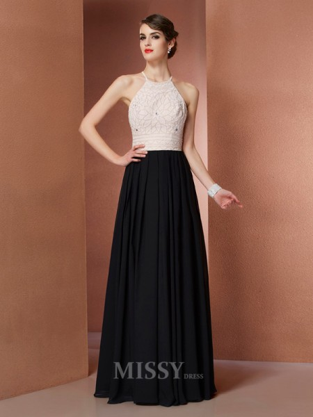 A-Line Scoop Chiffon Floor-Length Evening Dress With Embroidery