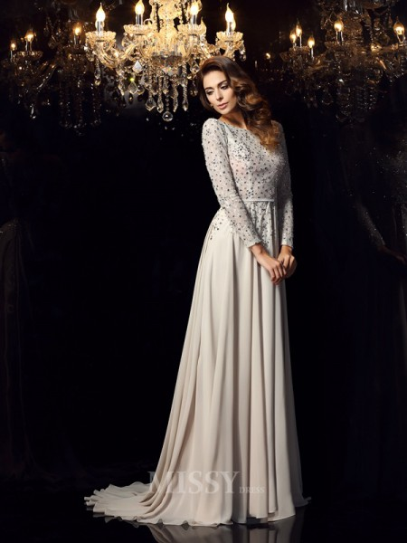 A-Line/Princess Long Sleeves Scoop Chiffon Beading Court Train Dress With Applique