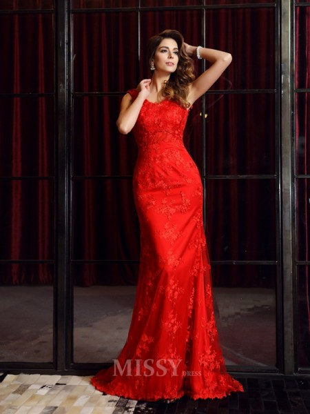Trumpet/Mermaid V-neck Lace Sweep/Brush Train Dress With Rhinestone