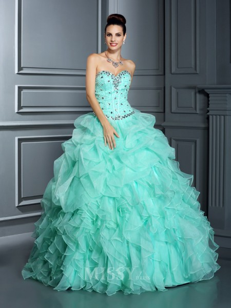 Ball Gown Sweetheart Floor-Length Organza Quinceanera Dress With Embroidery