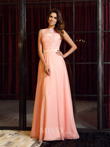 A-Line/Princess High Neck Sweep/Brush Train Chiffon Dress With Ruched