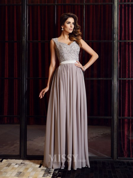 A-Line/Princess Straps Chiffon Floor-Length Applique Dress With Lace