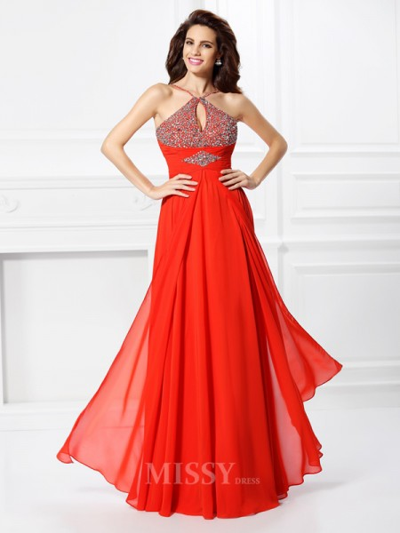 A-Line/Princess Floor-Length Chiffon Dress With Pleats