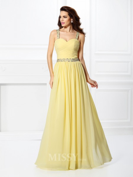 A-Line/Princess Sweetheart Floor-Length Chiffon Dress With Ruffles