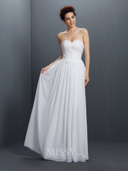 A-Line/Princess Sweetheart Lace Floor-Length Chiffon Dress With Beading