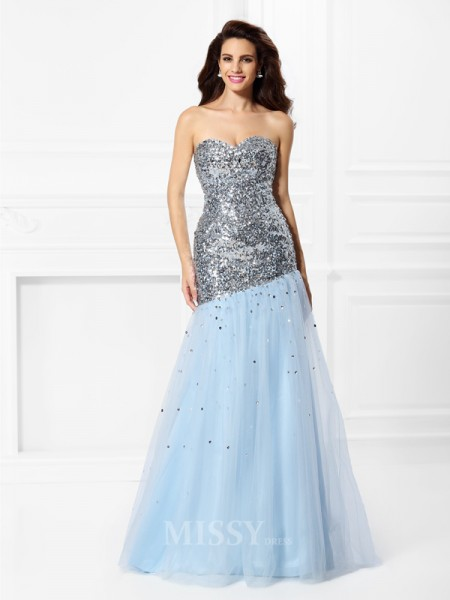 Trumpet/Mermaid Sweetheart Floor-Length Satin Dress With Beading Sequin