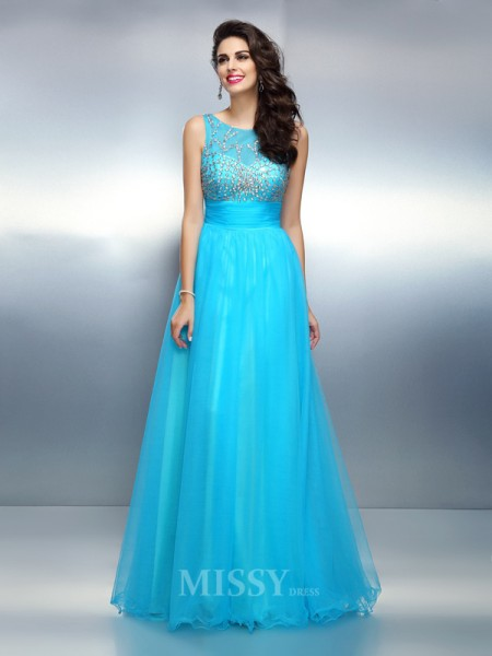 A-Line/Princess Bateau Floor-Length Elastic Woven Satin Dress With Rhinestone