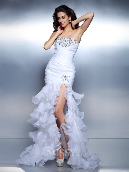 Trumpet/Mermaid Strapless Ruched Floor-Length Organza Dress With Beading