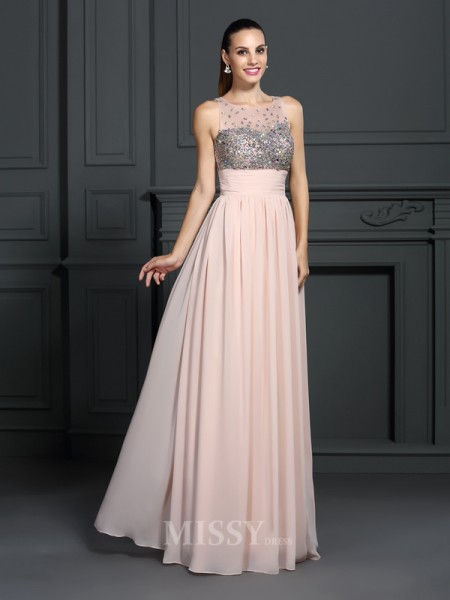 A-Line/Princess Bateau Floor-Length Chiffon Dress With Ruched