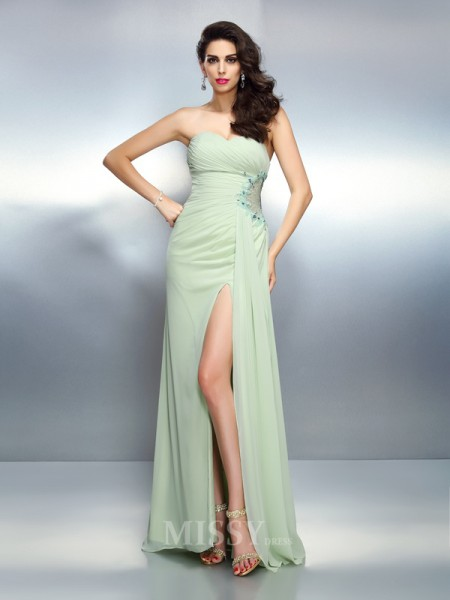 A-Line/Princess Sweetheart Pleats Floor-Length Chiffon Dress With Rhinestone