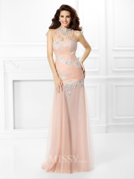 Trumpet/Mermaid Sweetheart Lace Floor-Length Chiffon Dress With Beading Applique
