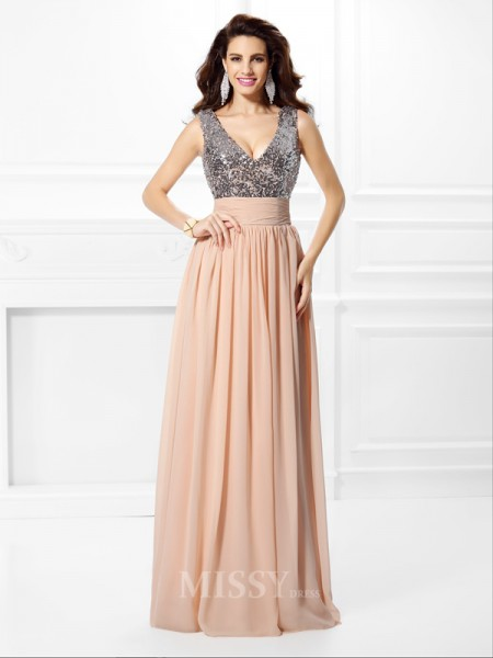 A-Line/Princess V-neck Paillette Floor-Length Chiffon Dress With Applique