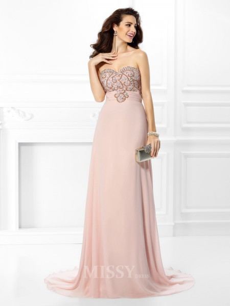 A-Line/Princess Sweetheart Sweep/Brush Train Chiffon Dress With Rhinestone