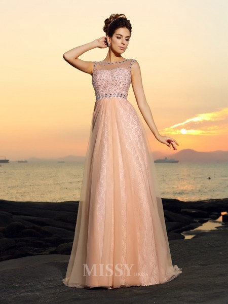 A-Line/Princess Bateau Floor-length Lace Chiffon Dress With Pleats