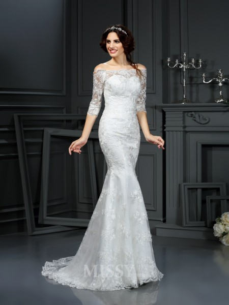 Sheath/Column Off the Shoulder 1/2 Sleeves Sweep/Brush Train Lace Wedding Dress With Embroidery
