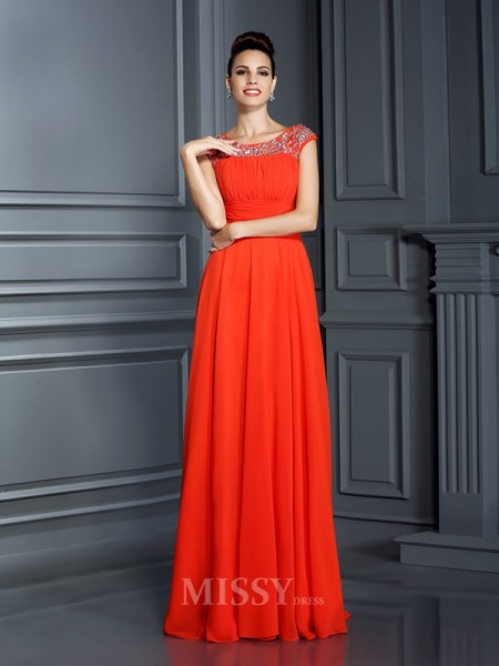 A-Line/Princess Bateau Floor-Length Chiffon Dress With Beading