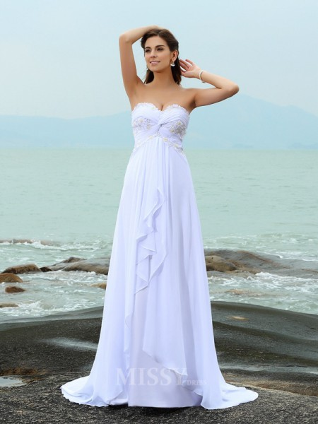 A-Line/Princess Sweetheart Sweep/Brush Train Chiffon Wedding Dress With Sash