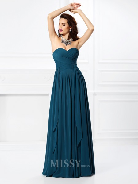 A-Line/Princess Sweetheart Pleats Ruffles Floor-Length Chiffon Dress With Beading