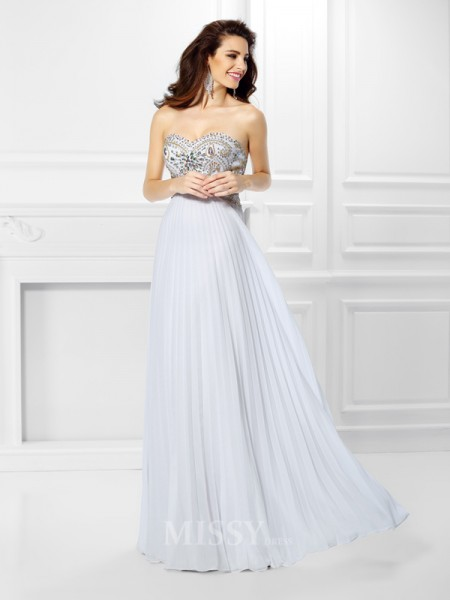 Empire Sweetheart Floor-Length Chiffon Dress With Embroidery Beading