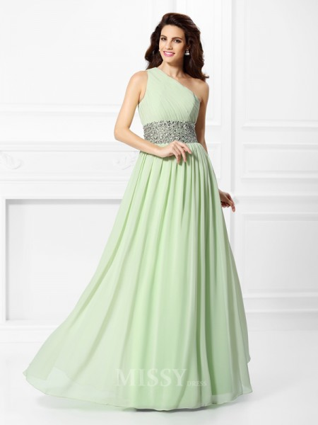 A-Line/Princess One-Shoulder Floor-Length Chiffon Dress With Pleats Beading