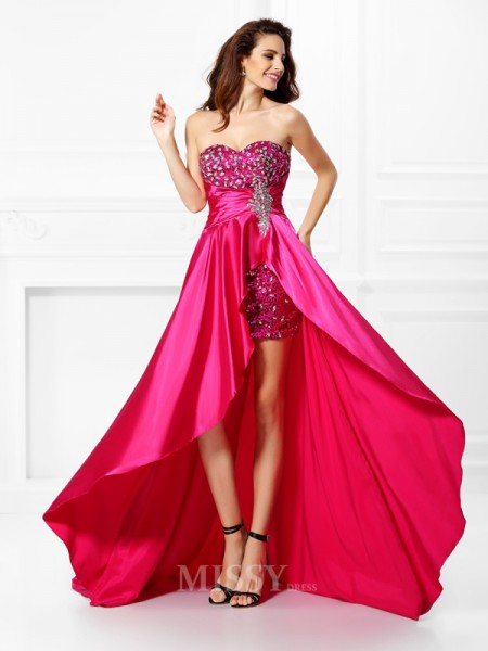 A-Line/Princess Sweetheart Paillette Asymmetrical Elastic Woven Satin Dress With Ruffles