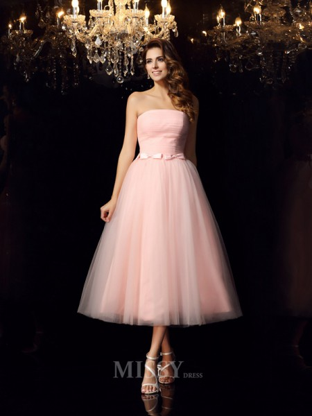 Ball Gown Strapless Satin Tea-Length Sash/Ribbon/Belt Dress With Beading