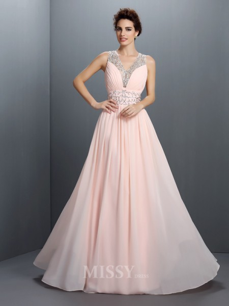 A-Line/Princess V-neck Beading Floor-Length Chiffon Dress With Sash